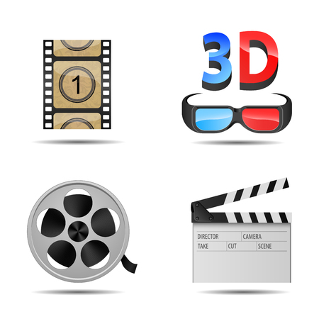 Bright and detailed icons of cinema and films on white background Vector