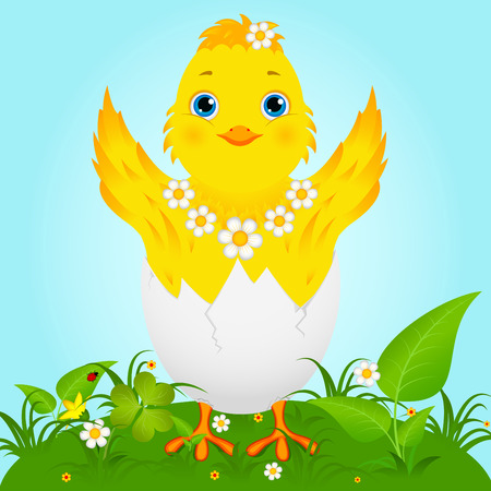 loveable: Illustration of a cute happy little yellow Easter chick
