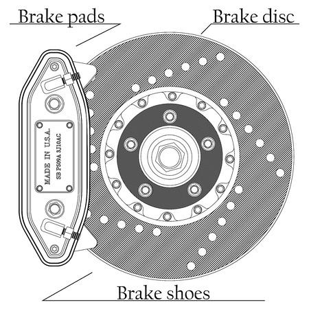 brake pad: Vector illustration of brake disc with caliper on a white background Illustration