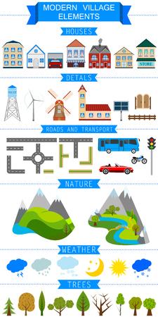 Elements of a Modern Village or City. Vector illustration  Vector