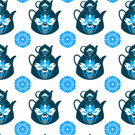 Seamless pattern with retro design china tea pots. Vector illustration of a tea theme. Vector