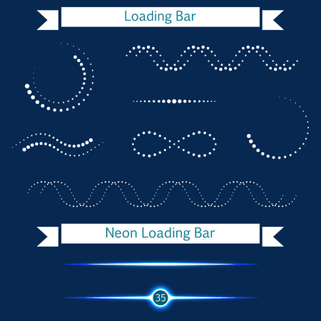 progressbar: Collection of modern glowing preloaders and progress loading. Set loading bars in the form of points on a dark background for your design - stock vector.