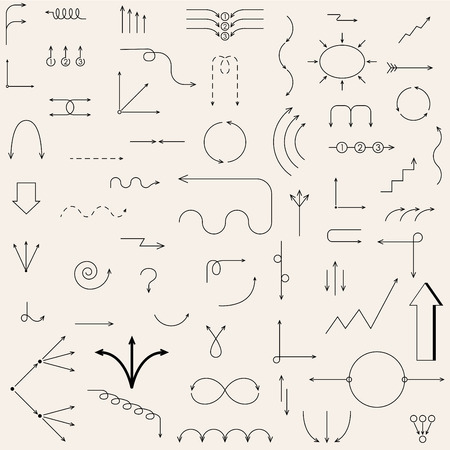 The arrows drawn in the vector. Fully editable vector elements. Vector