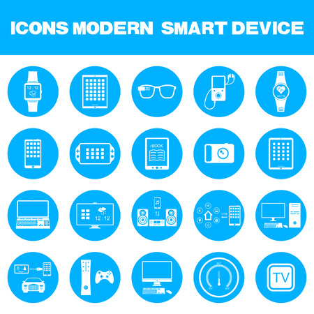 smart object: Icons set of smart devices, modern wearable electronics, audio and video gadgets, communication systems and home control and the vehicle - stock vector. Illustration
