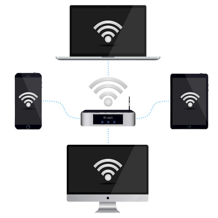 wiring: Wiring diagram of the smartphone, PC and tablet to the router with a signal. Vector illustration on isolated white background.