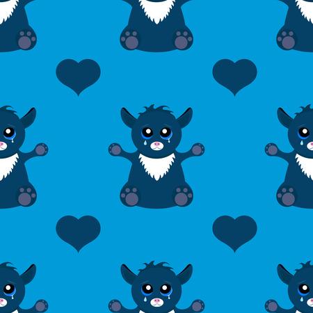 cat's eye glasses: Vector illustration of seamless pattern of alien cat monster. Monster graphic design for t-shirt.