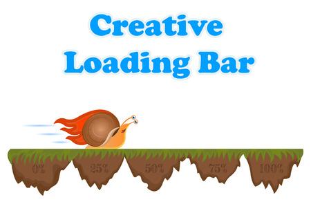 pre loader: Fast and slow snail progress loading bar Illustration