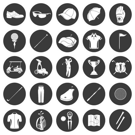 Golf icons design over white background. Vector