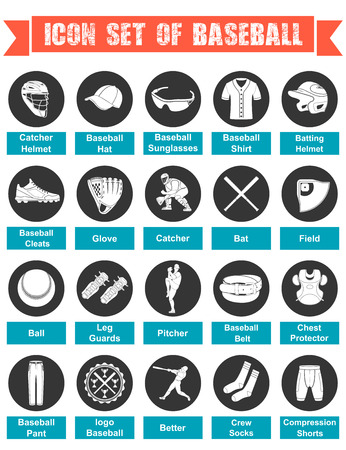 Icons Baseball with titles Vector