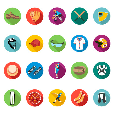 baseball stadium: Set of colored flat icons of baseball