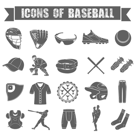 Set of icons of baseball on white isolated background Vector