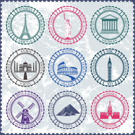 Set of Vector Icons and Stickers. Travel and Sightseeing. Vector