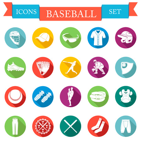 Set of vector icons flat about baseball Vector