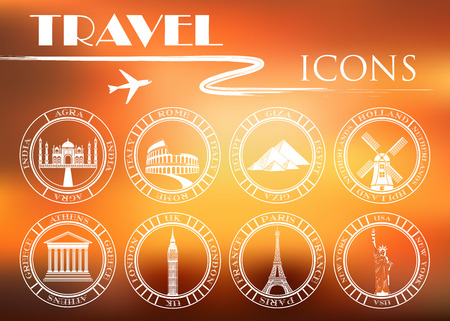 attractions: Set of Vector Icons for Travel and Attractions