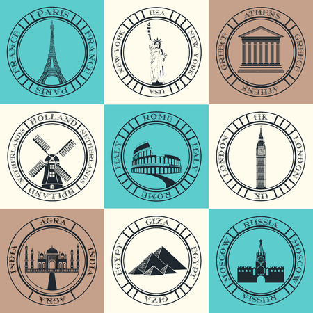 attractions: Stickers and icons of travel. Vector illustration isolated famous scenic attractions and places of the world.