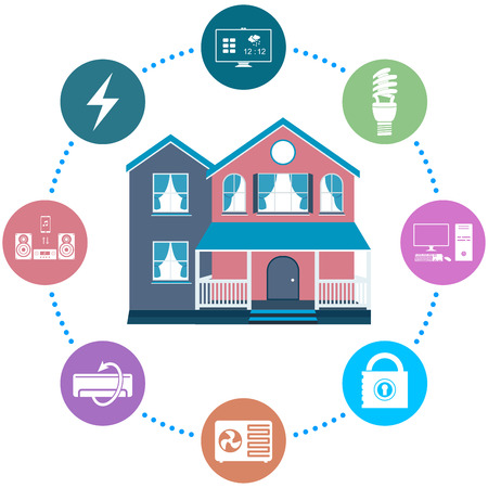 Vector illustration of a smart home on white isolated background. Modern cottage with a remote control system - stock vector.