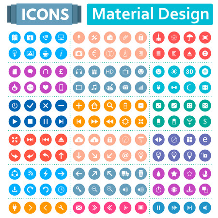 material: Universal set of social, technical, household icons isolated on white background. Vector illustration designed in a modern style - Material Design.