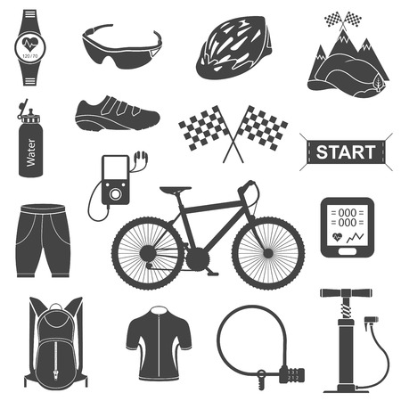 cycling helmet: Bicycles. Isolated vector bike accessories set. Spare parts for bicycle vector big icons set. Stock Vector.