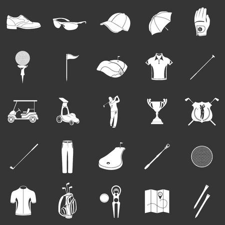 Golfspel sport en activiteit pictogrammen instellen geïsoleerde vector illustratie. Silhouetten, symbolen en logo's, accessoires, apparatuur, kleding en uitrusting voor uw project. Stock vector.