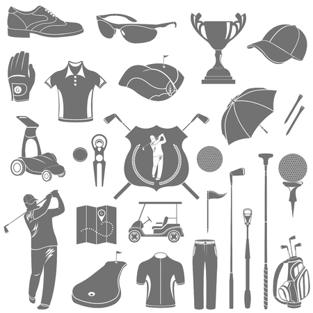 Golf game sport and activity icons set isolated vector illustration. Silhouettes, symbols and logos, accessories, equipment, clothing and equipment for your project. Stock vector. Vector