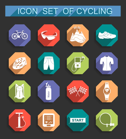 big icons: Bicycles. Isolated vector bike accessories set. Spare parts for bicycle vector big icons set. Stock Vector.