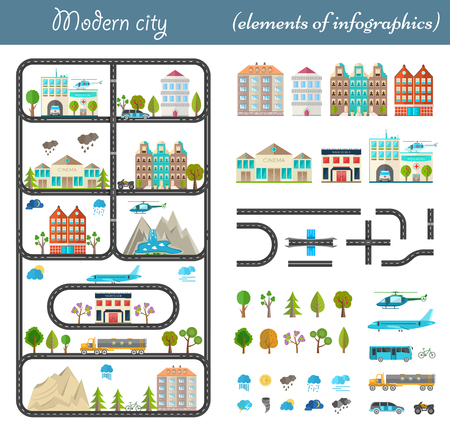 Elements of the modern city in style material design Vector