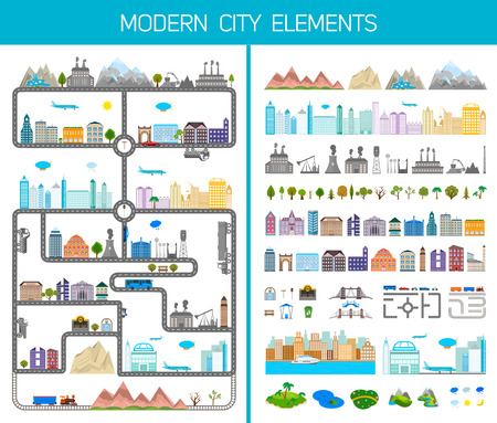 Elements of the modern city or village - stock vector Vector