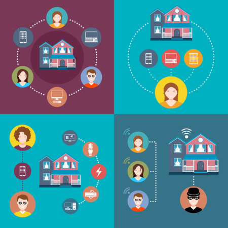 home network: Set elements of infographics smart home and security system Illustration