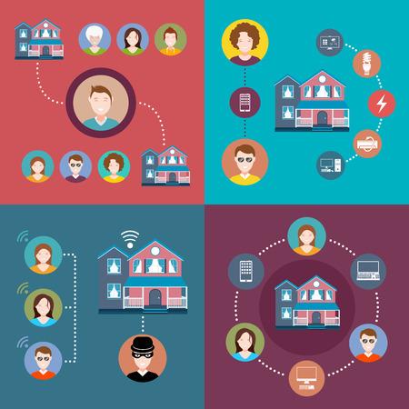 Éléments ensemble de l'infographie de maison intelligente Vecteurs