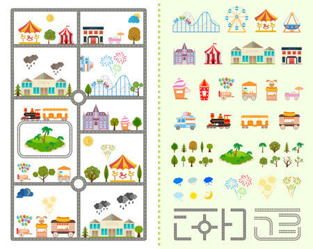 Set of elements for creating your own city Ilustracja