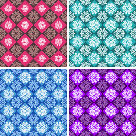 Set of geometric patterns of red, green, blue and purple colors. Vector