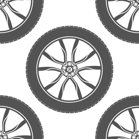 Vector seamless pattern wheel of a sports car. Pattern on a white background for your design - stock vector. Vector