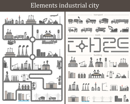Vector Set include: Industrial Buildings, Cars, Roads and other Urban Objects and Elements. City map. Vector set of infographic elements for graphic projects - Stock Vector.