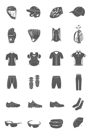 workwear: Big vector set of sports accessories, clothing, footwear, headgear. Collection of icons on a theme of sports, fitness and popular games. Illustration