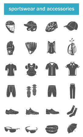 tennis shoe: Big vector set of sports accessories, clothing, footwear, headgear. Collection of icons on a theme of sports, fitness and popular games. Illustration