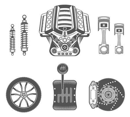 piston: Vector set of parts of the machine. Engine, gearbox, shock absorber, wheel, brake pads, piston.