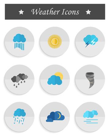 substrate: Conjunto de iconos del tiempo en el estilo de dise�o de materiales sobre un sustrato blanco Vector. Las principales condiciones meteorol�gicas para las aplicaciones m�viles e interfaces