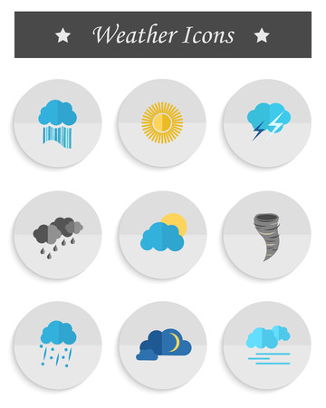 substrate: Vector set of weather icons in the style of material design on a white substrate. The main weather conditions for mobile applications and interfaces Illustration