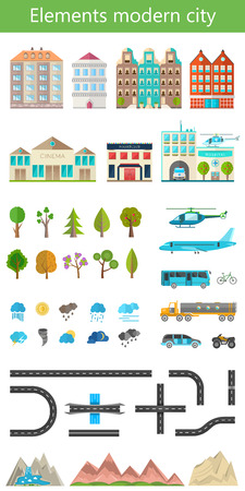 Elements of the modern city. Design your own town. Map elements for your pattern, web site or other type of design. Vector illustration. Vector