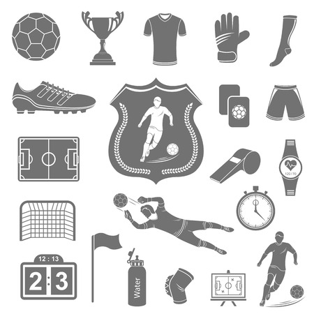 Set of vector icons, logos and symbols of football. Silhouettes of soccer equipment and uniforms of players on a white isolated background - stock vector. Vector