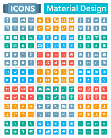 modern material: Universal set of social, technical, household icons isolated on white background. Vector illustration designed in a modern style - Material Design.
