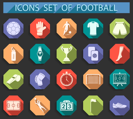 cleats: Set of vector icons and symbols of football. Silhouettes of soccer equipment and uniforms of players in flat style - stock vector. Illustration