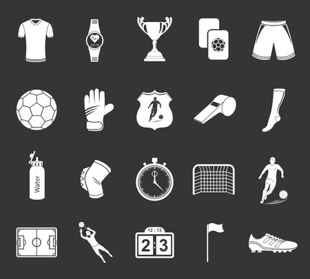 soccer cleats: Set of vector icons and symbols of football. Silhouettes of soccer equipment and uniforms of players on a gray isolated background - stock vector. Illustration