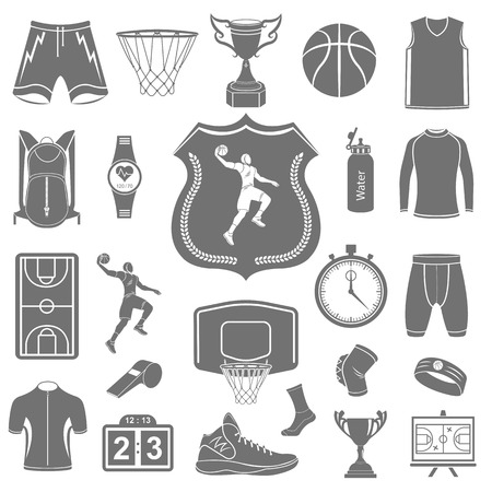 basketball: Basketball icon set - stock vector. Large set of symbols and icons of basketball. Sports equipment, protection, trackers, silhouettes of players, uniforms, clothing and shoes. Illustration