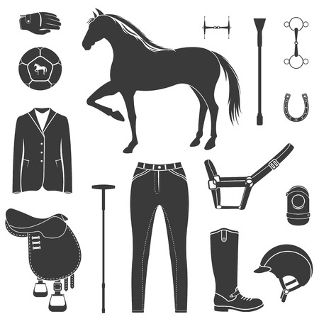 bridle: Vector set of icons and symbols for sports games polo. Silhouettes of horses and equipment player - stock vector. Illustration