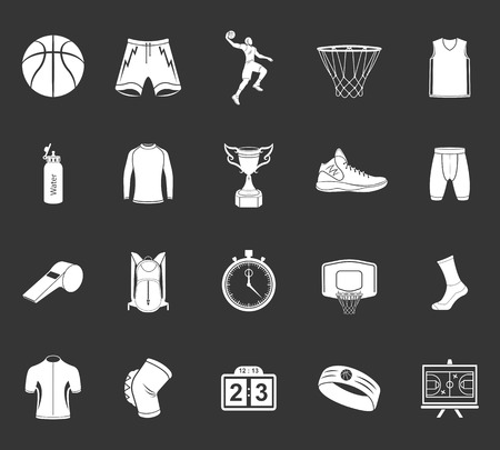 Basketball icon set - stock vector. Large set of symbols, logos and icons of basketball. Sports equipment, protection, trackers, silhouettes of players, uniforms, clothing and shoes. Ilustracja