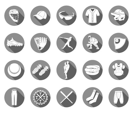 protector: Set of vector icons of baseball on a white isolated background. Equipment, accessories, clothing and players - stock vector.