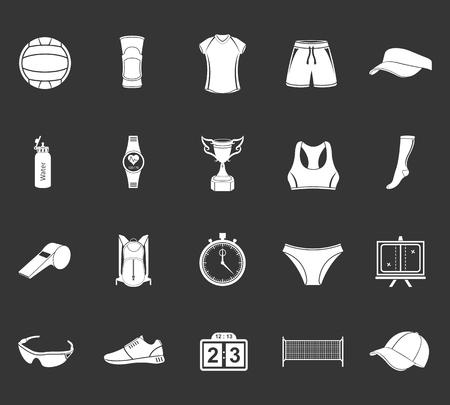 pelota de voleibol: Icono de Voleibol set - Imagen vectorial. Amplio conjunto de s�mbolos, logos e iconos de voleibol. Deportes de equipo, protecci�n, rastreadores, las siluetas de jugadores, uniformes, ropa y zapatos. Vectores