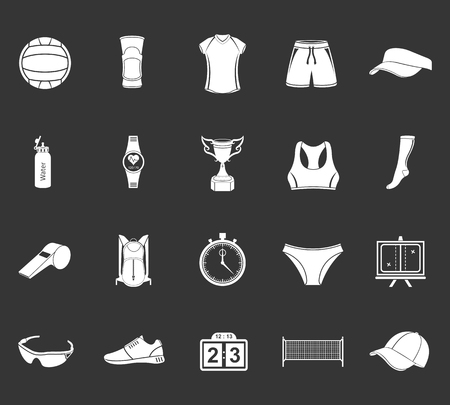 volleyball net: Volleyball icon set - stock vector. Large set of symbols, logos and icons of volleyball. Sports equipment, protection, trackers, silhouettes of players, uniforms, clothing and shoes. Illustration