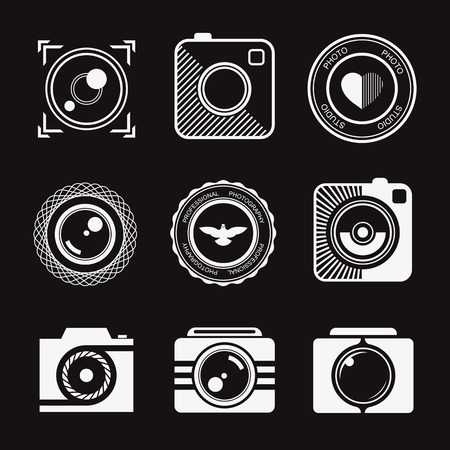 Vector collection of photography  templates. Photography vintage and modern badges and photo labels. Photocam . Vector